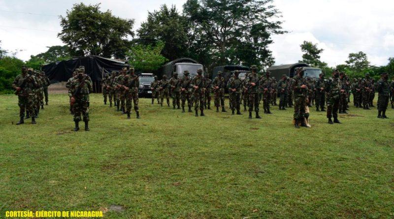 Efectivos del Ejército de Nicaragua en apertura del plan de protección de la cosecha cafetalera ciclo productivo 2021-2022 en Boaco.