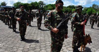 Efectivos del Ejército de Nicaragua en apertura del plan de protección de la cosecha cafetalera ciclo productivo 2021-2022 en Managua