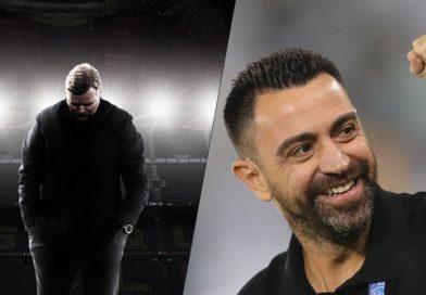 El futuro posible técnico del Barcelona, Xavi Hernández y el ex entrenador Ronald Koeman.