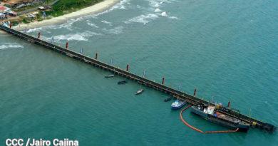 Vista aérea del del Muelle deBilwien Puerto Cabezas