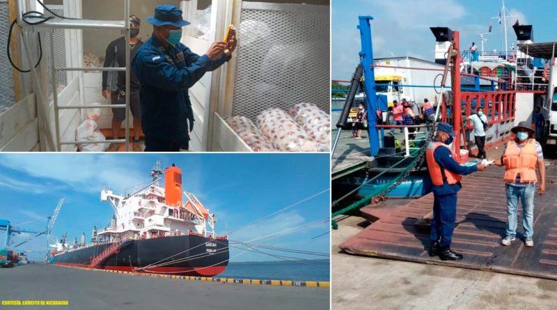 Efectivos de la Fuerza Naval del Ejército de Nicaragua realizando inspección y seguridad a embarcaciones y flota pesquera industrial